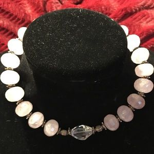 Striking vintage choker, pink and silver